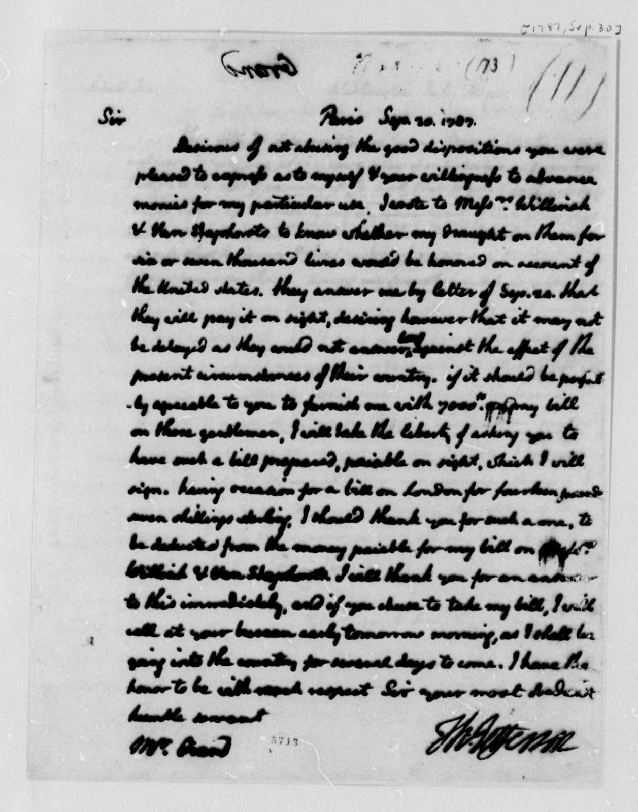 Thomas Jefferson to Ferdinand Grand, September 30, 1787