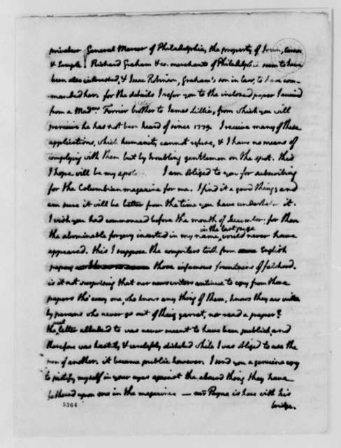 Thomas Jefferson to Francis Hopkinson, August 1, 1787, Pearl Manufacturing and Trade; with Account of Funds Owed to Thomas Jefferson by Francis Hopkinson and Benjamin Franklin