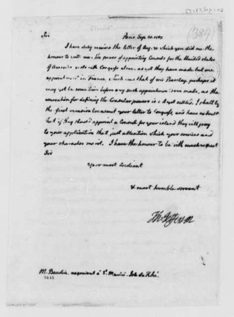 Thomas Jefferson to Francois Baudin, September 20, 1787