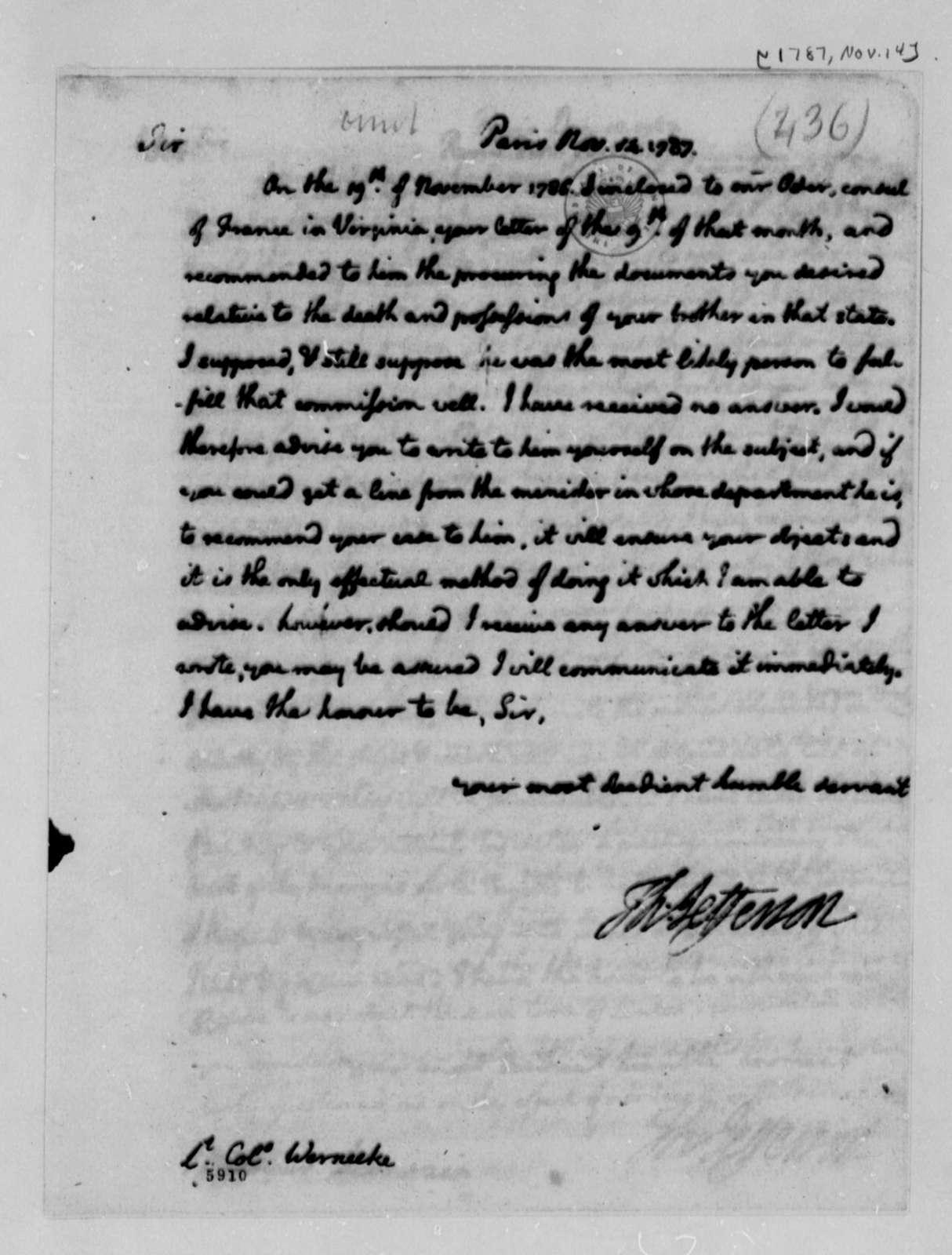 Thomas Jefferson to Frederick Wernecke, November 14, 1787