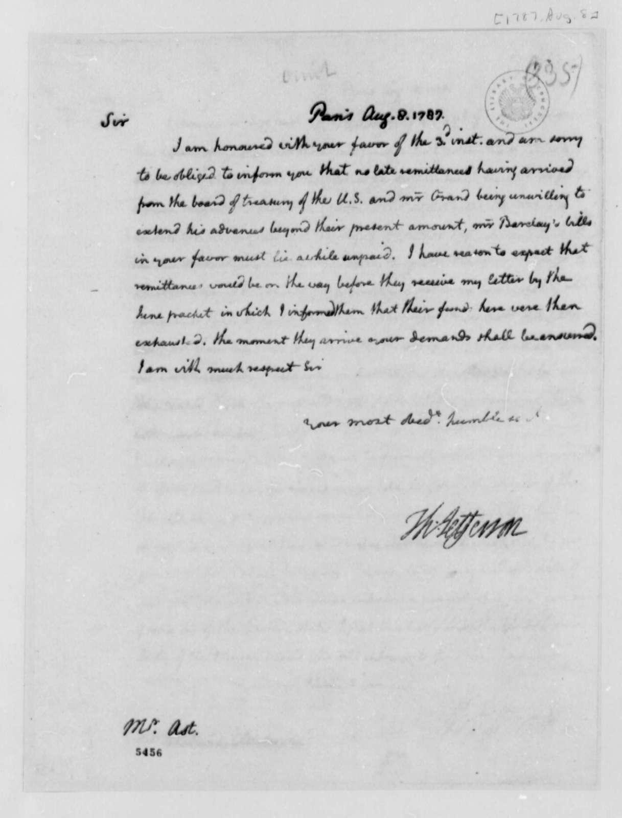 Thomas Jefferson to Frederick William Ast, August 8, 1787