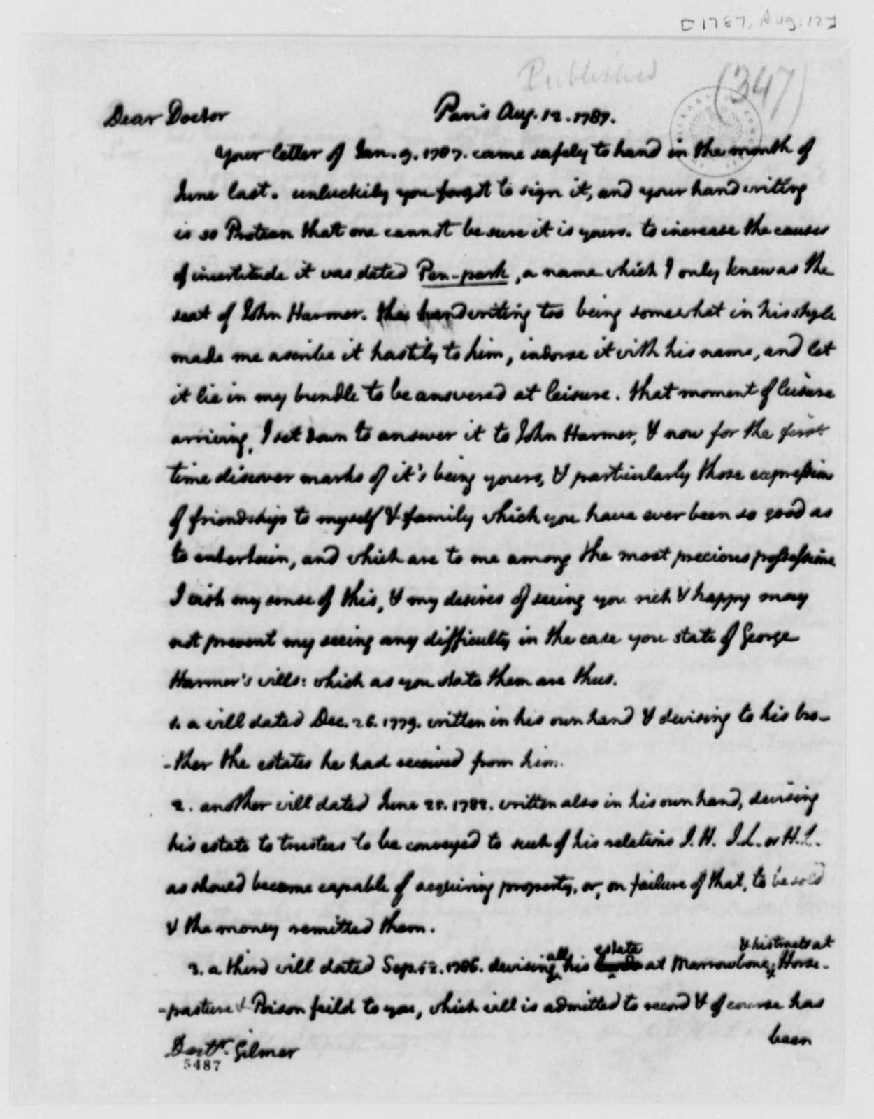 Thomas Jefferson to George Gilmer, August 12, 1787