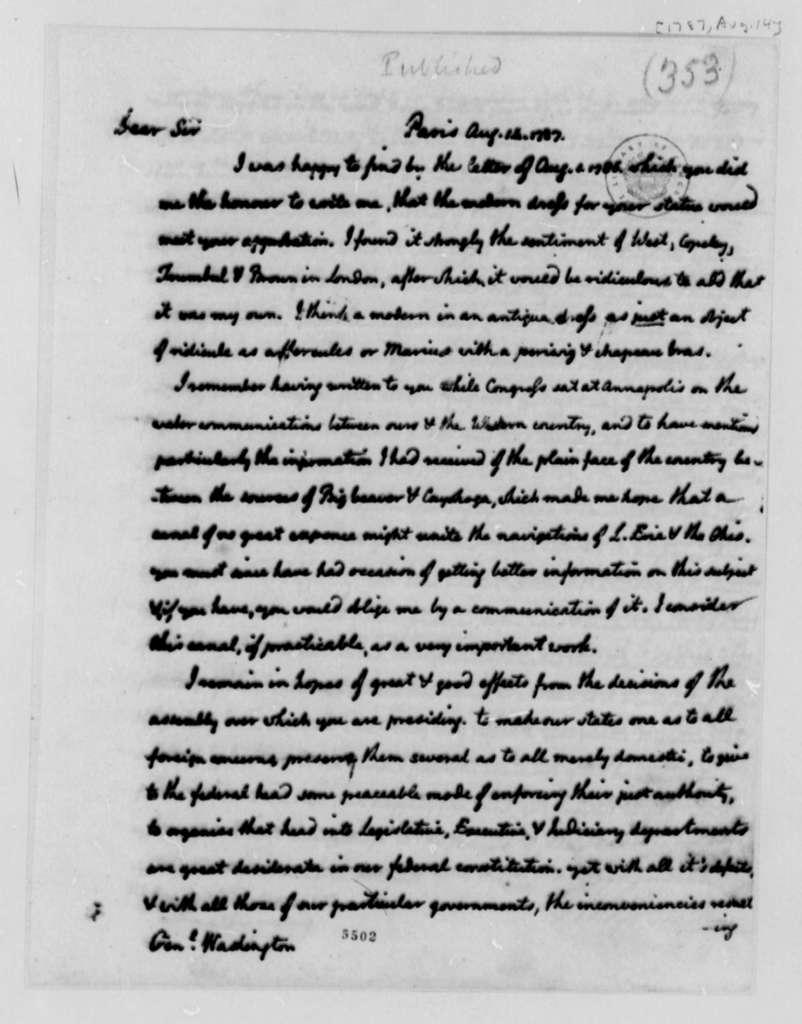 Thomas Jefferson to George Washington, August 14, 1787