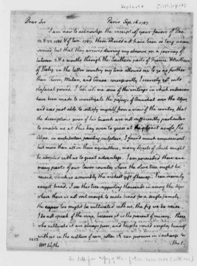 Thomas Jefferson to George Wythe, September 16, 1787, with Lists of Books for George Wythe and Peter Carr; with Copy