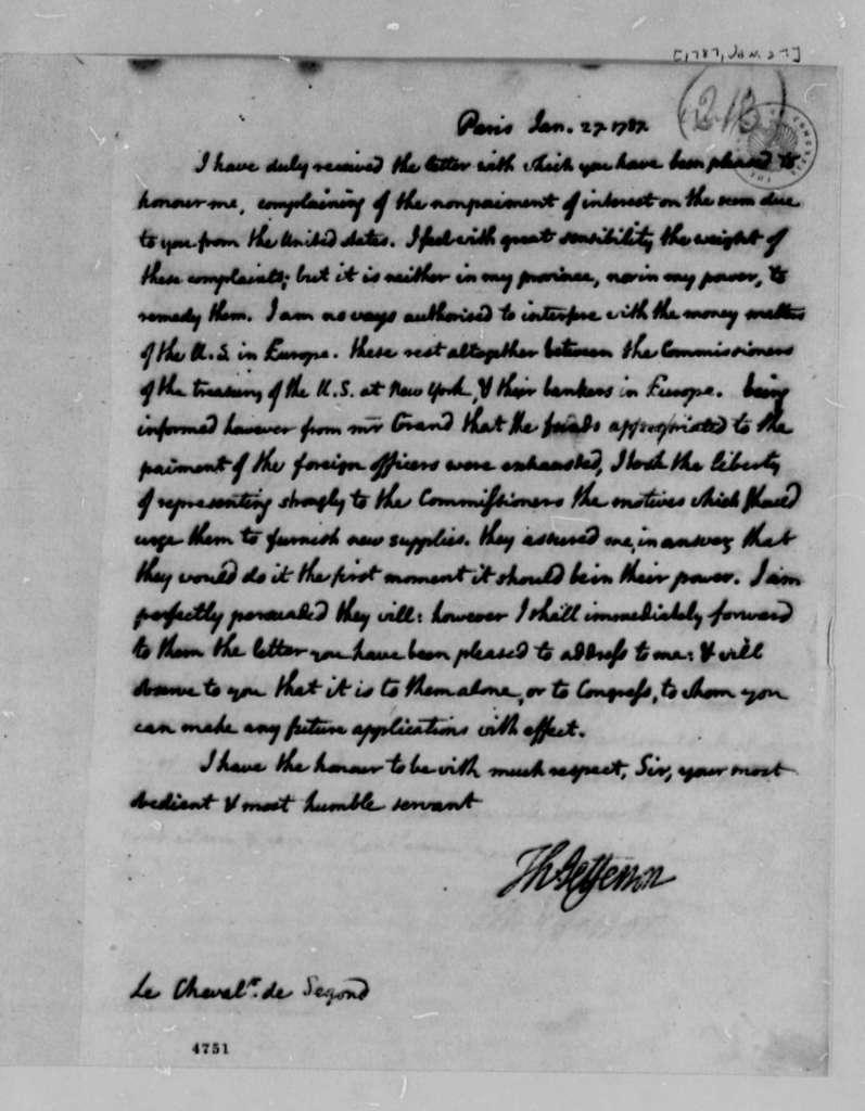 Thomas Jefferson to Jacques, Chevalier de Segond, January 27, 1787