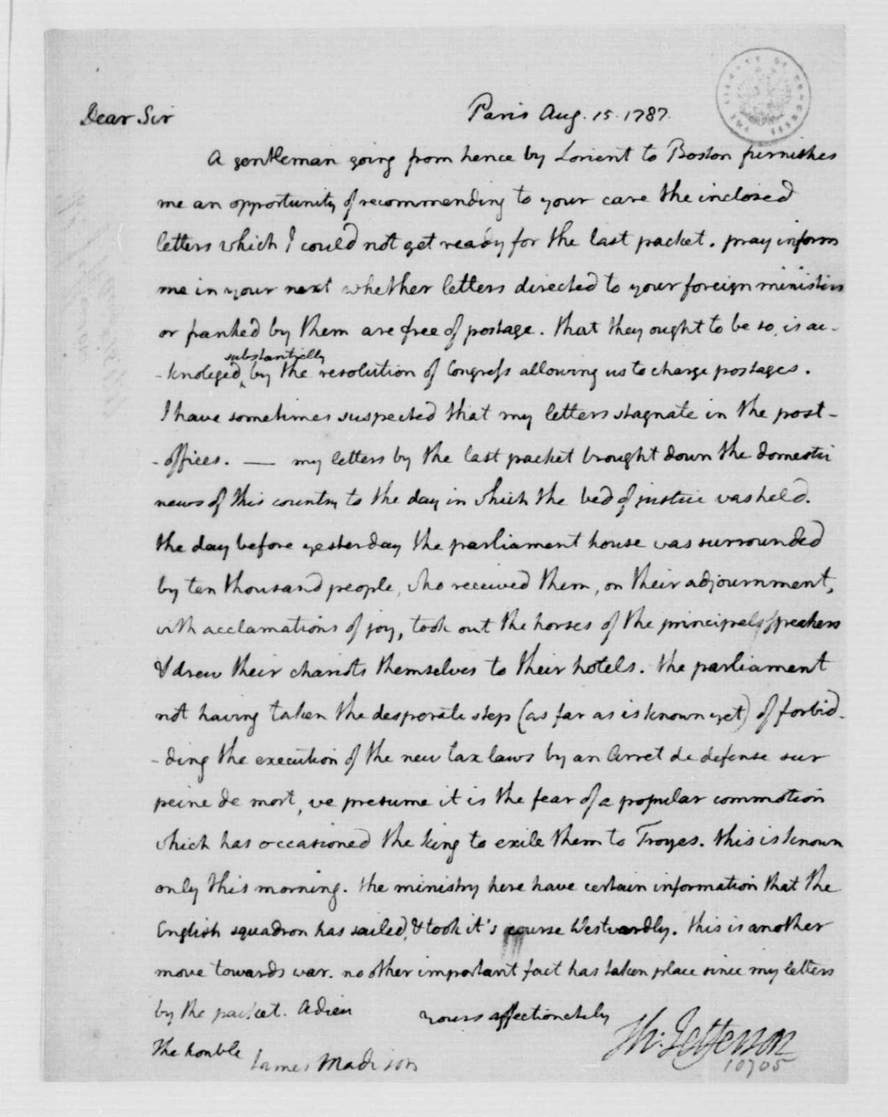 Thomas Jefferson to James Madison, August 15, 1787.