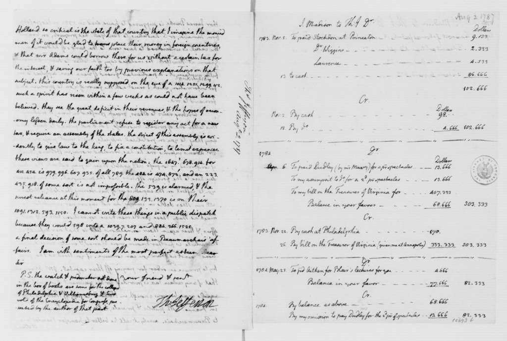 Thomas Jefferson to James Madison, August 2, 1787. Partly in Cipher, with Accounts.