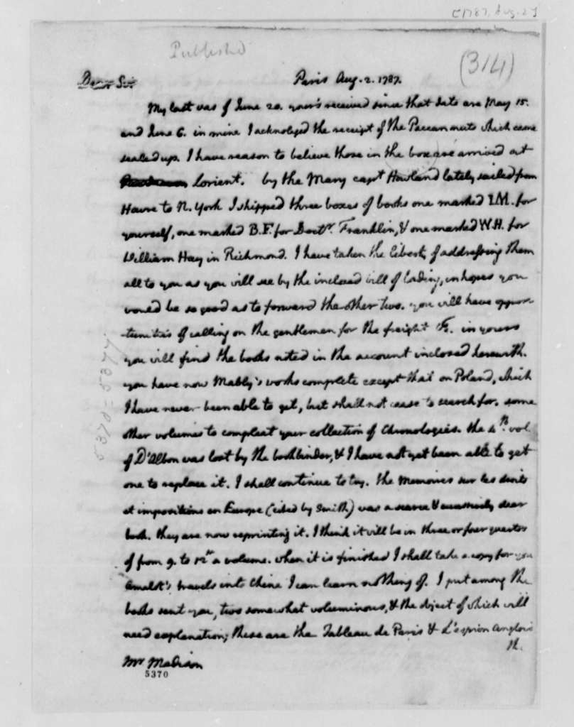 Thomas Jefferson to James Madison, August 2, 1787, with Account of Funds Owed by James Madison to Thomas Jefferson