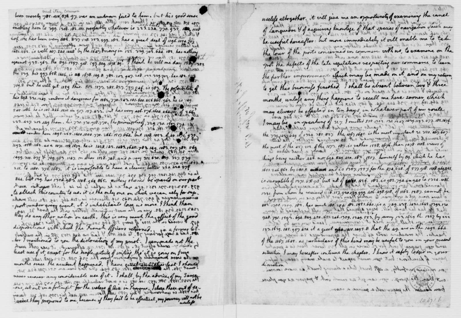 Thomas Jefferson to James Madison, January 30, 1787. Partly in Cipher, with Translation.