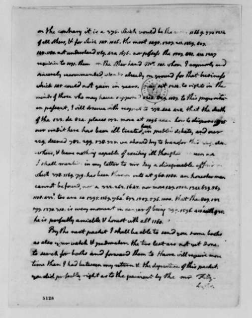 Thomas Jefferson to James Madison, June 20, 1787, with List of Words and Phrases to be Encoded; Cipher