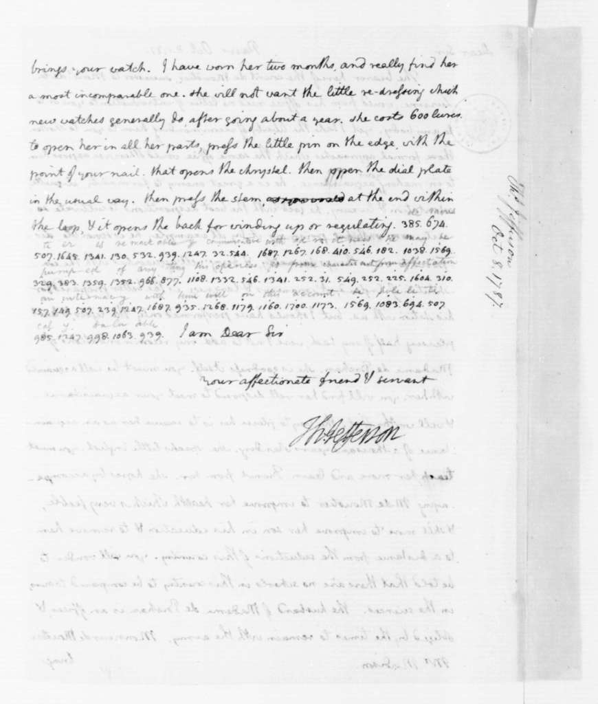 Thomas Jefferson to James Madison, October 8, 1787. Partly in Cipher.