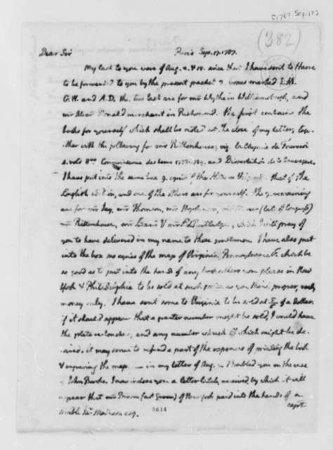 Thomas Jefferson to James Madison, September 17, 1787, with Account for Book Shipment