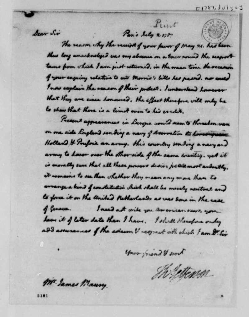 Thomas Jefferson to James Maury, July 2, 1787