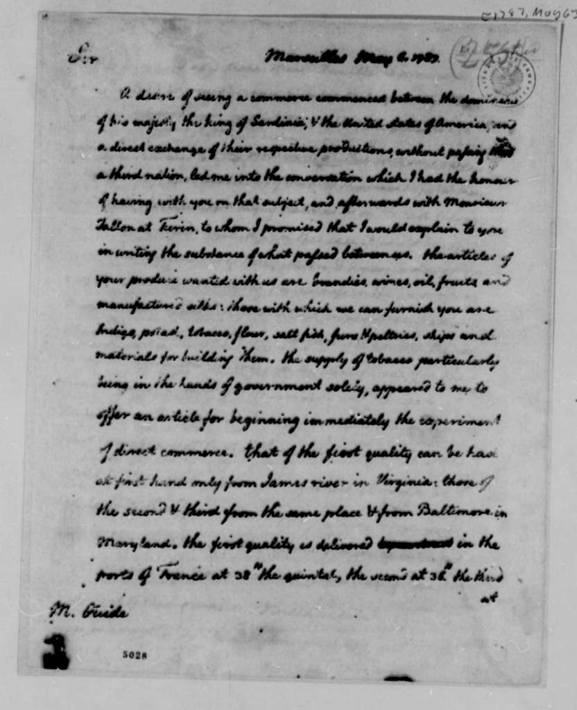 Thomas Jefferson to Jean Baptiste Guide, May 6, 1787