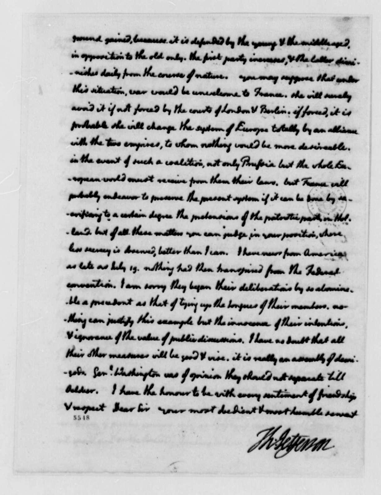 Thomas Jefferson to John Adams, August 30, 1787