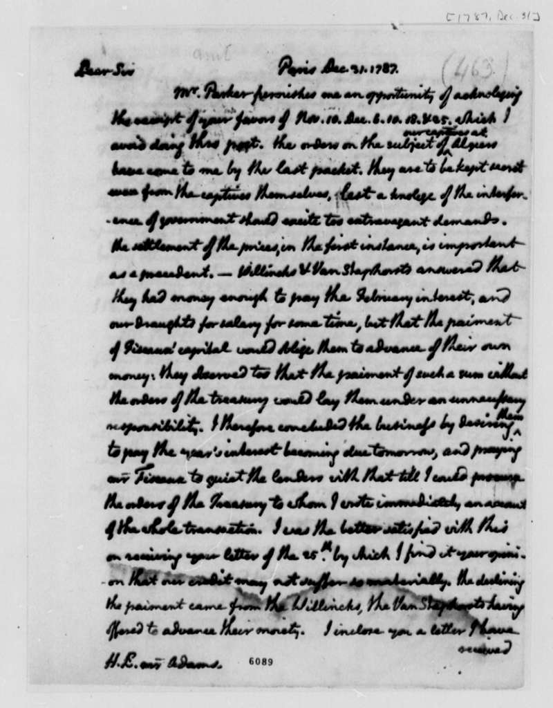Thomas Jefferson to John Adams, December 31, 1787