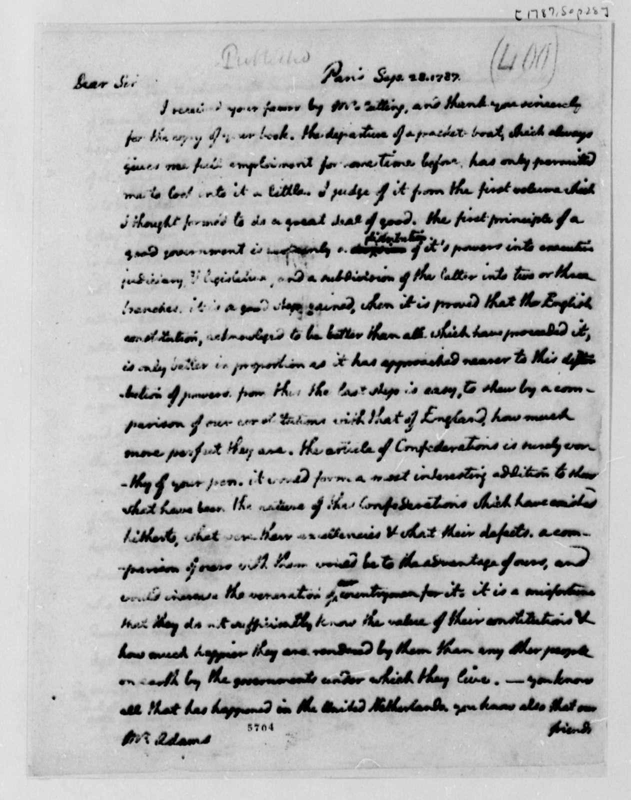 Thomas Jefferson to John Adams, September 28, 1787