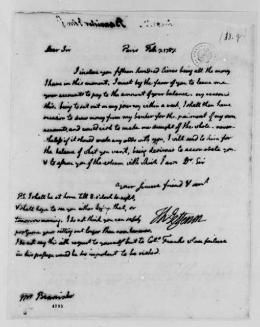 Thomas Jefferson to John Banister Jr., February 7, 1787