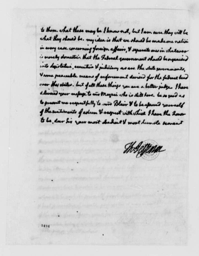 Thomas Jefferson to John Blair, August 13, 1787