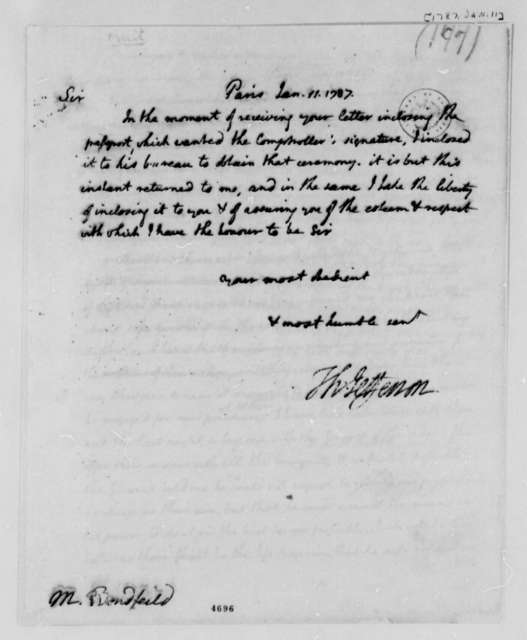 Thomas Jefferson to John Bondfield, January 11, 1787
