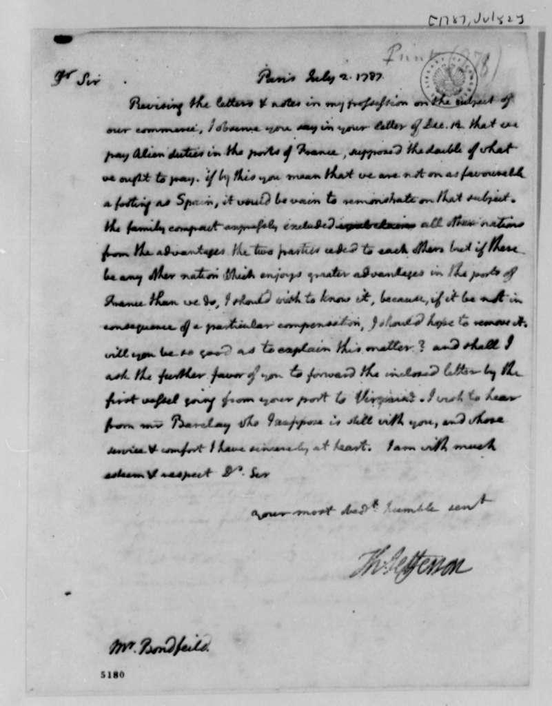 Thomas Jefferson to John Bondfield, July 2, 1787