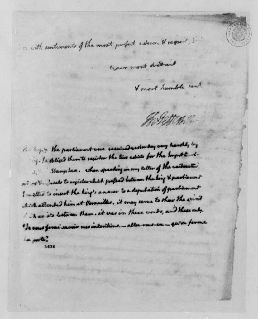 Thomas Jefferson to John Jay, August 6, 1787, with Copy
