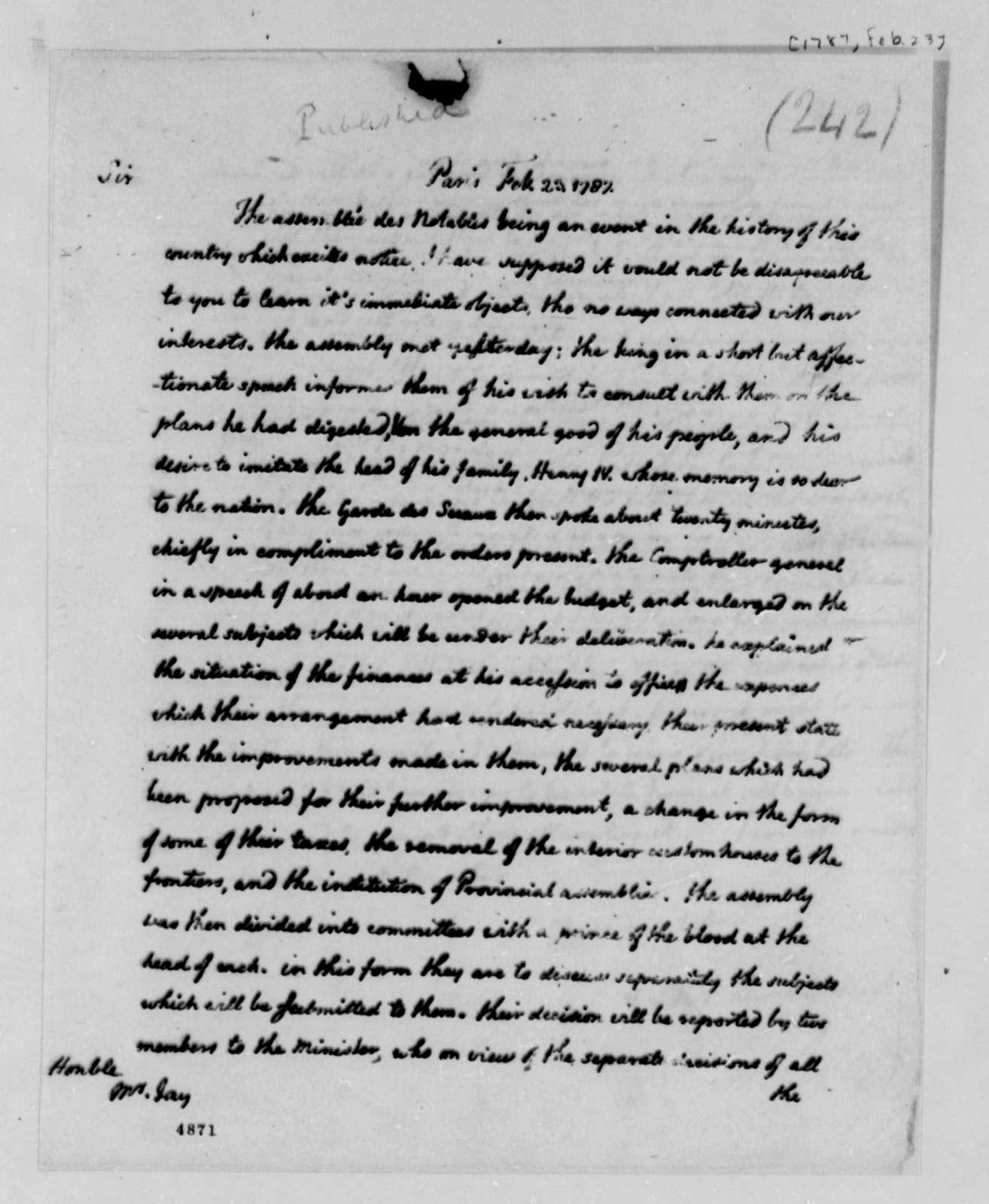 Thomas Jefferson to John Jay, February 23, 1787
