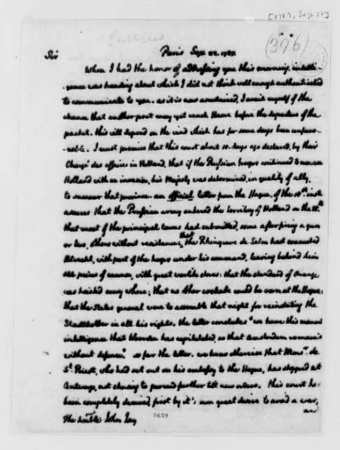 Thomas Jefferson to John Jay, September 22, 1787, two same date; Prussian and Russian Military Advances; with Copy