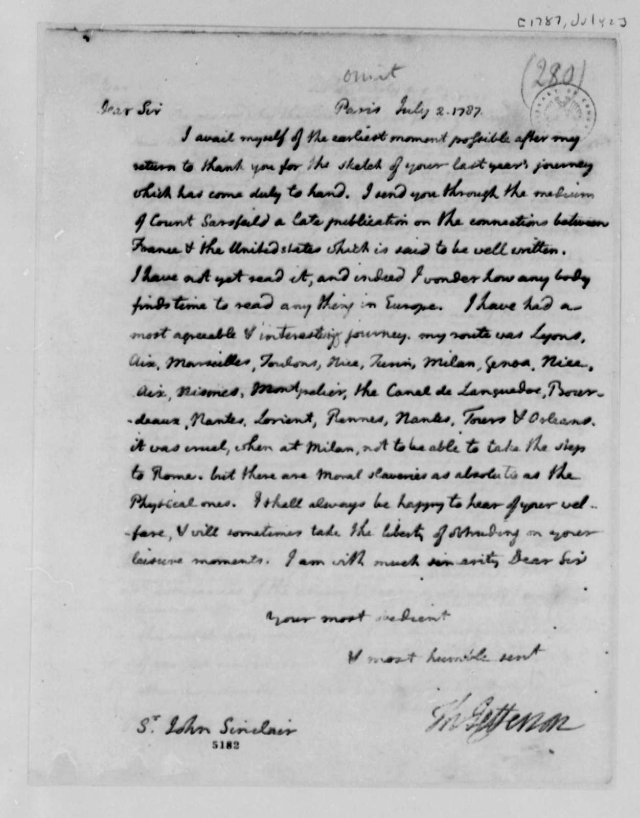 Thomas Jefferson to John Sinclair, July 2, 1787