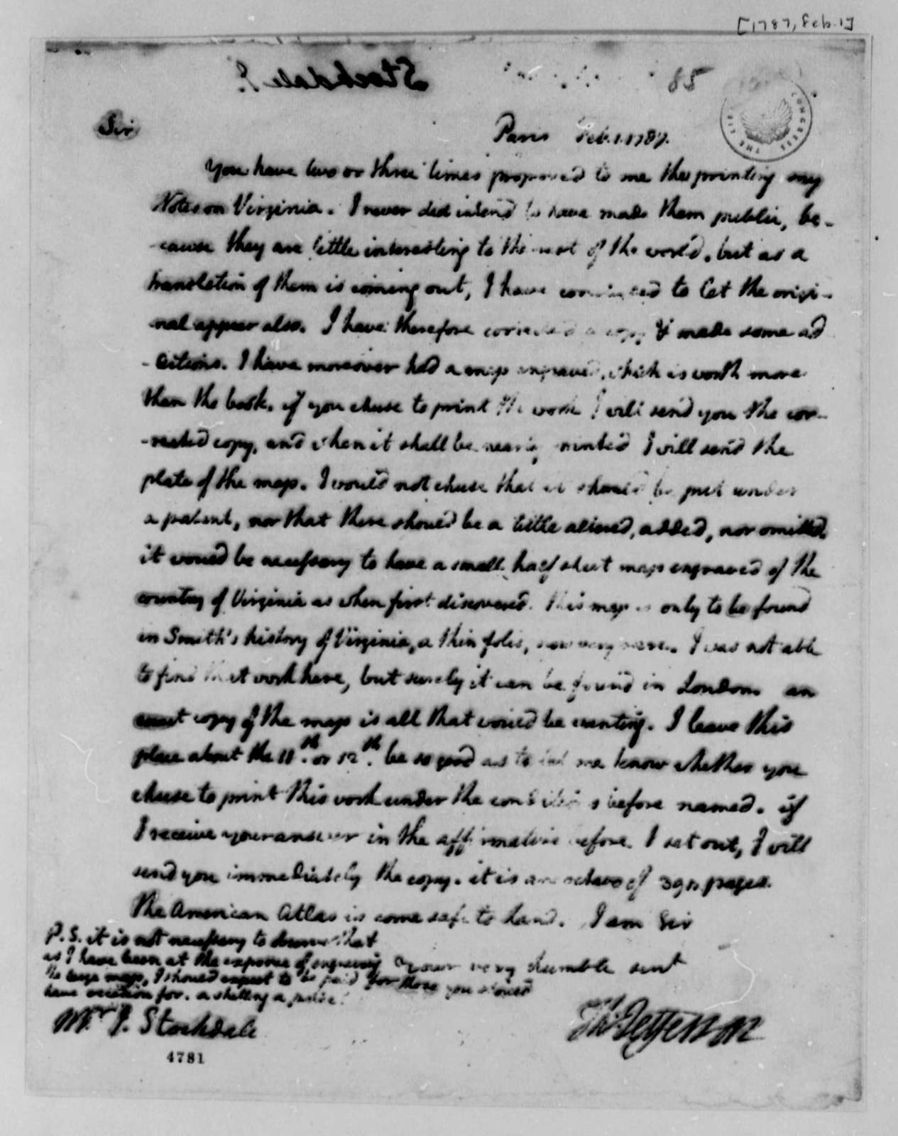 Thomas Jefferson to John Stockdale, February 1, 1787