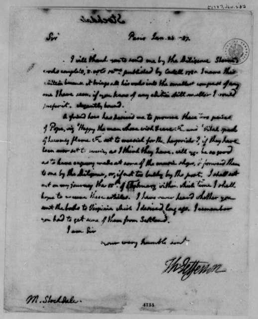 Thomas Jefferson to John Stockdale, January 28, 1787