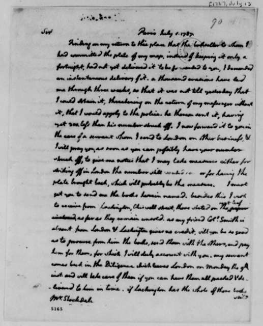 Thomas Jefferson to John Stockdale, July 1, 1787, with Two Lists of Books to be Purchased