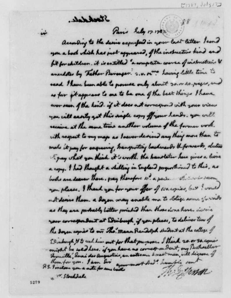 Thomas Jefferson to John Stockdale, July 17, 1787