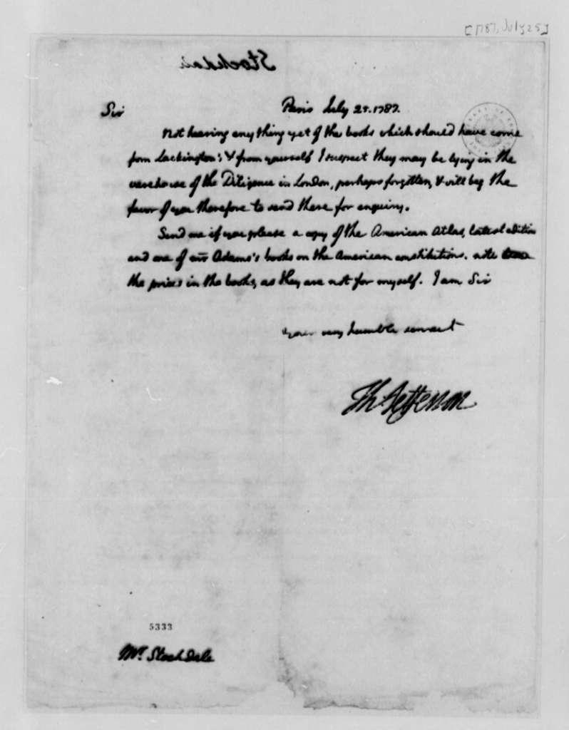 Thomas Jefferson to John Stockdale, July 25, 1787