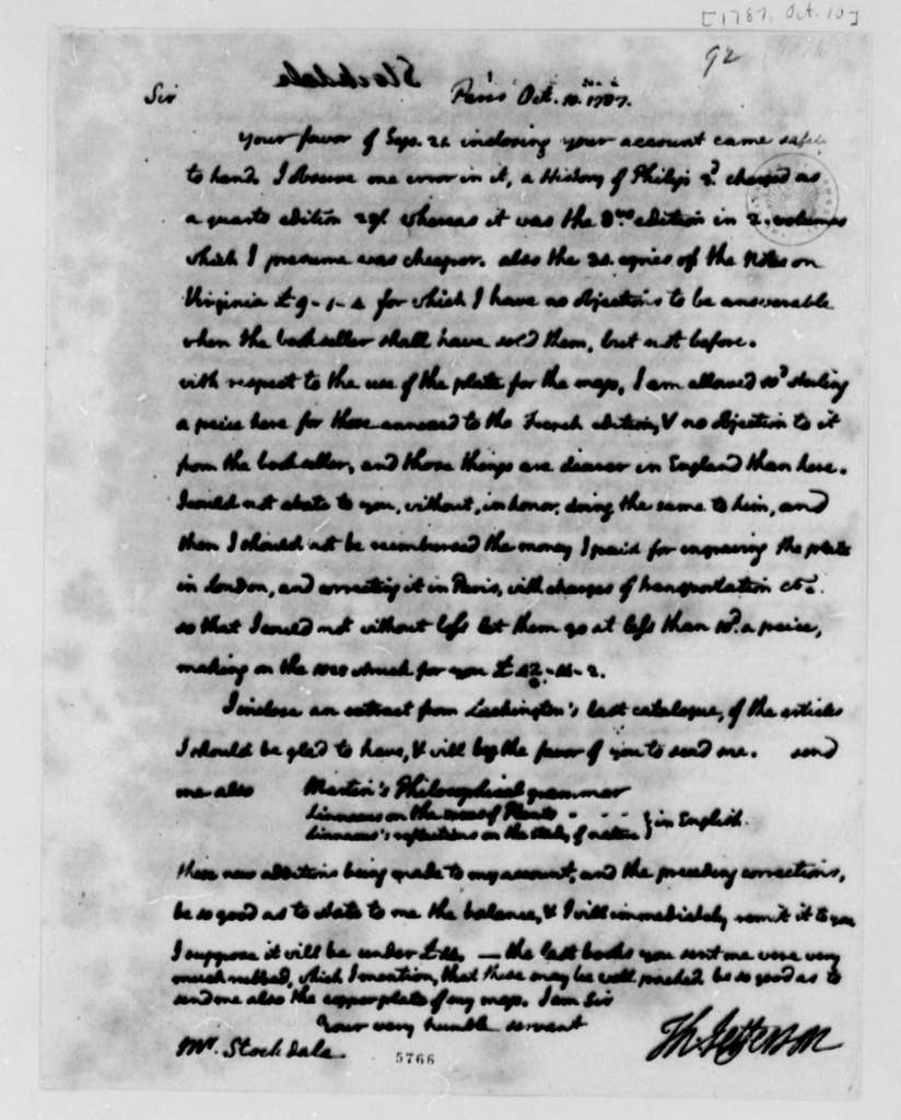 Thomas Jefferson to John Stockdale, October 1, 1787