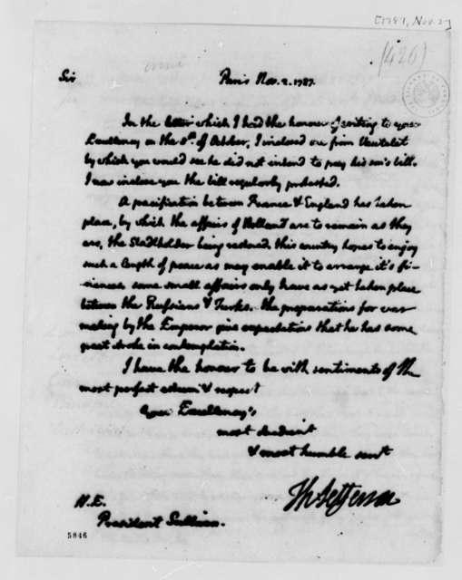 Thomas Jefferson to John Sullivan, November 2, 1787