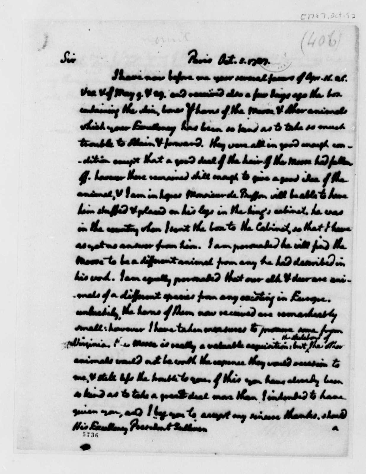 Thomas Jefferson to John Sullivan, October 5, 1787