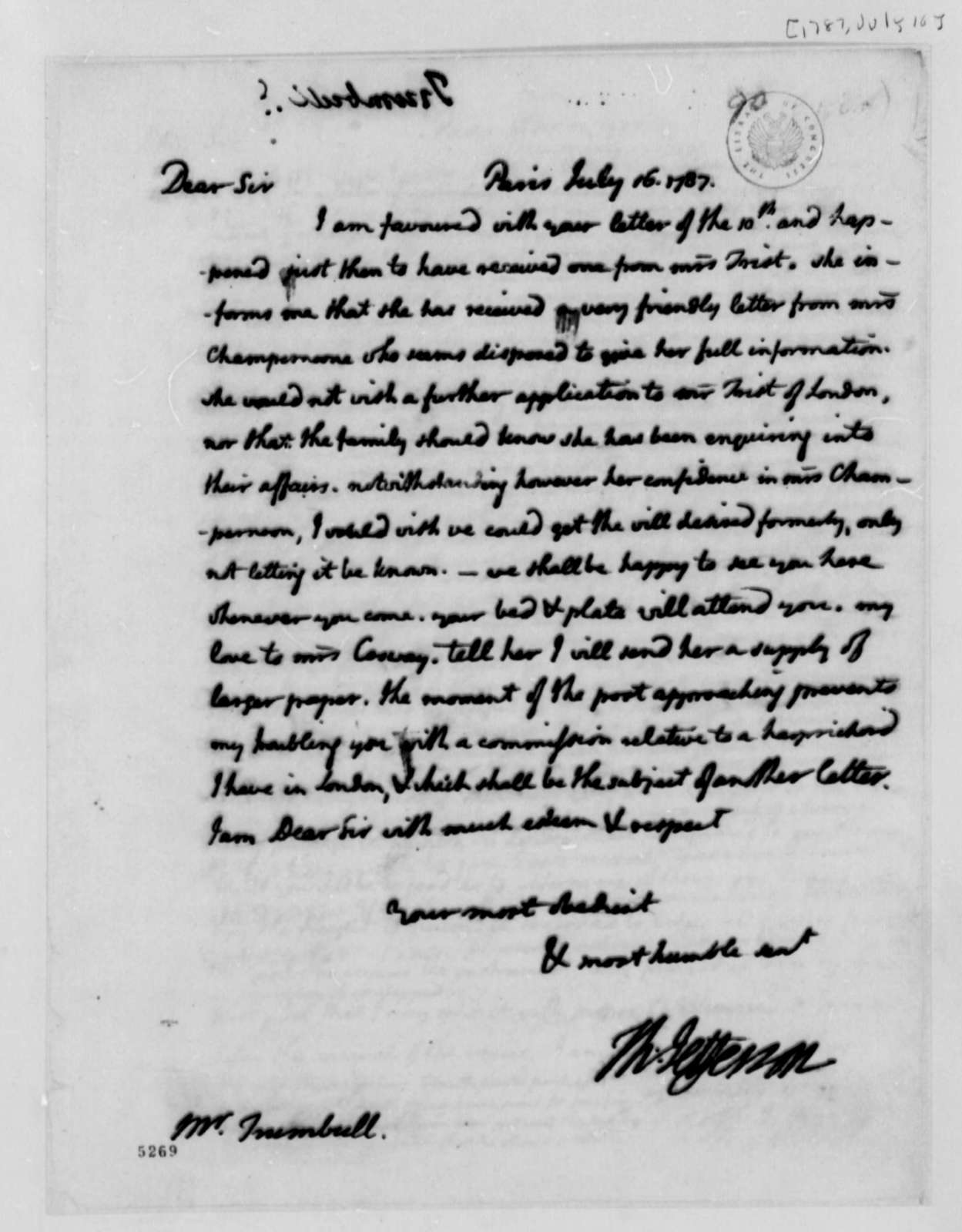 Thomas Jefferson to John Trumbull, July 16, 1787