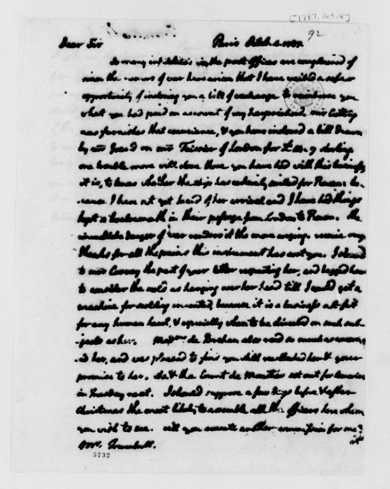 Thomas Jefferson to John Trumbull, October 4, 1787