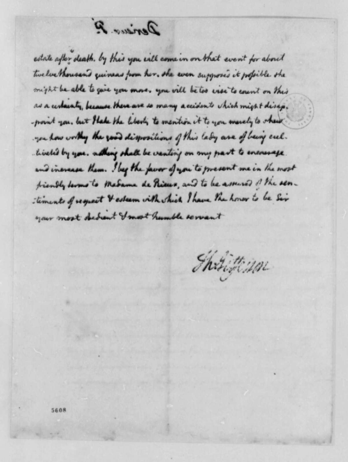 Thomas Jefferson to Justin Pierre Plumard Derieux, September 16, 1787