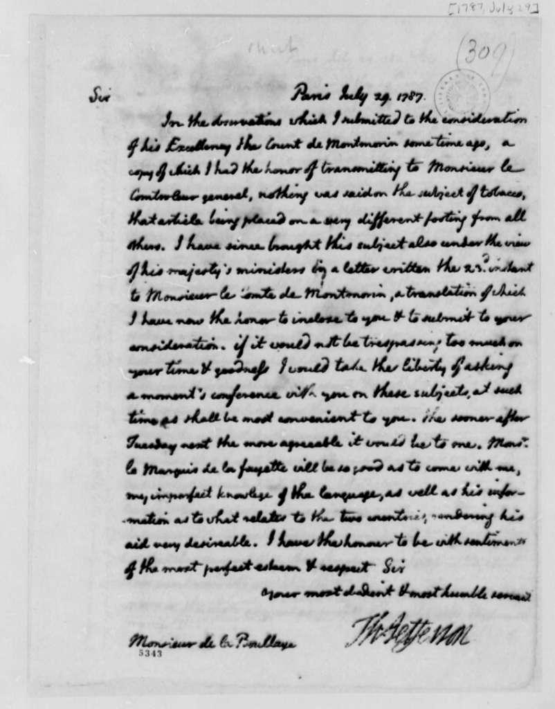 Thomas Jefferson to La Boullaye, July 29, 1787