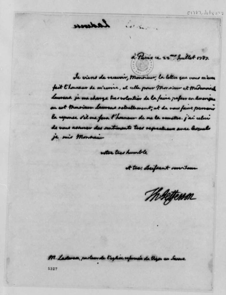 Thomas Jefferson to Ladevese, July 23, 1787, Bequest from James Laurens; in French