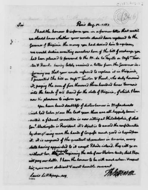 Thomas Jefferson to Lewis Littlepage, August 12, 1787