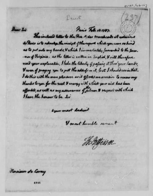 Thomas Jefferson to Louis Dominique de Corny, February 18, 1787
