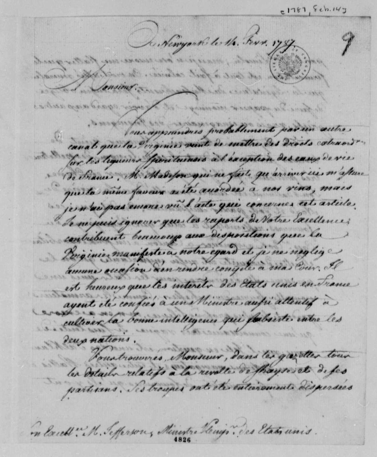 Thomas Jefferson to Louis Guillaume Otto, February 14, 1787