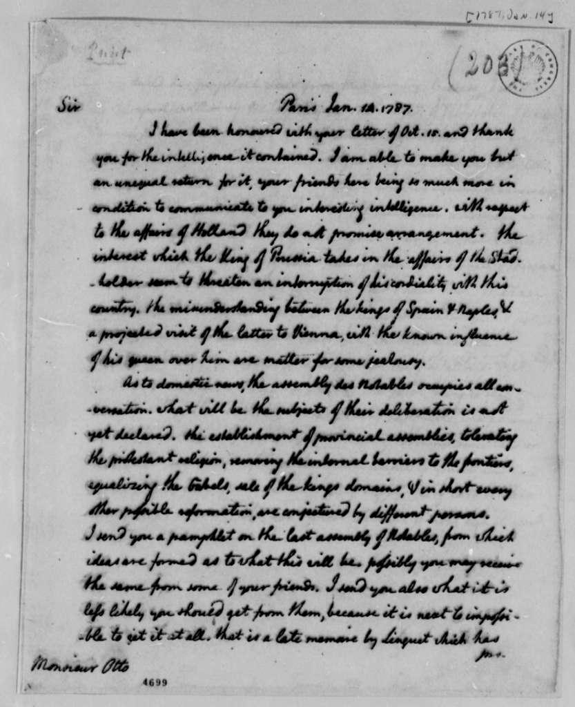 Thomas Jefferson to Louis Guillaume Otto, January 14, 1787
