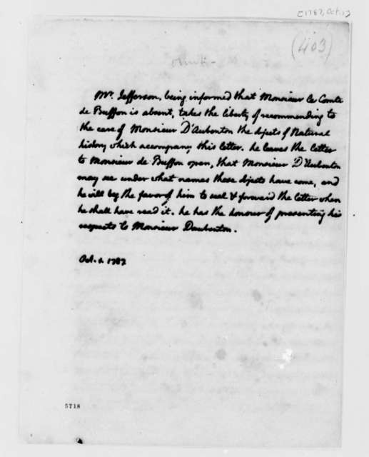 Thomas Jefferson to Louis Jean Marie Daubenton, October 1, 1787