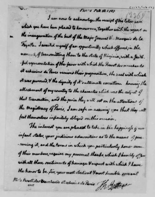Thomas Jefferson to Louis le Pelletier, February 18, 1787