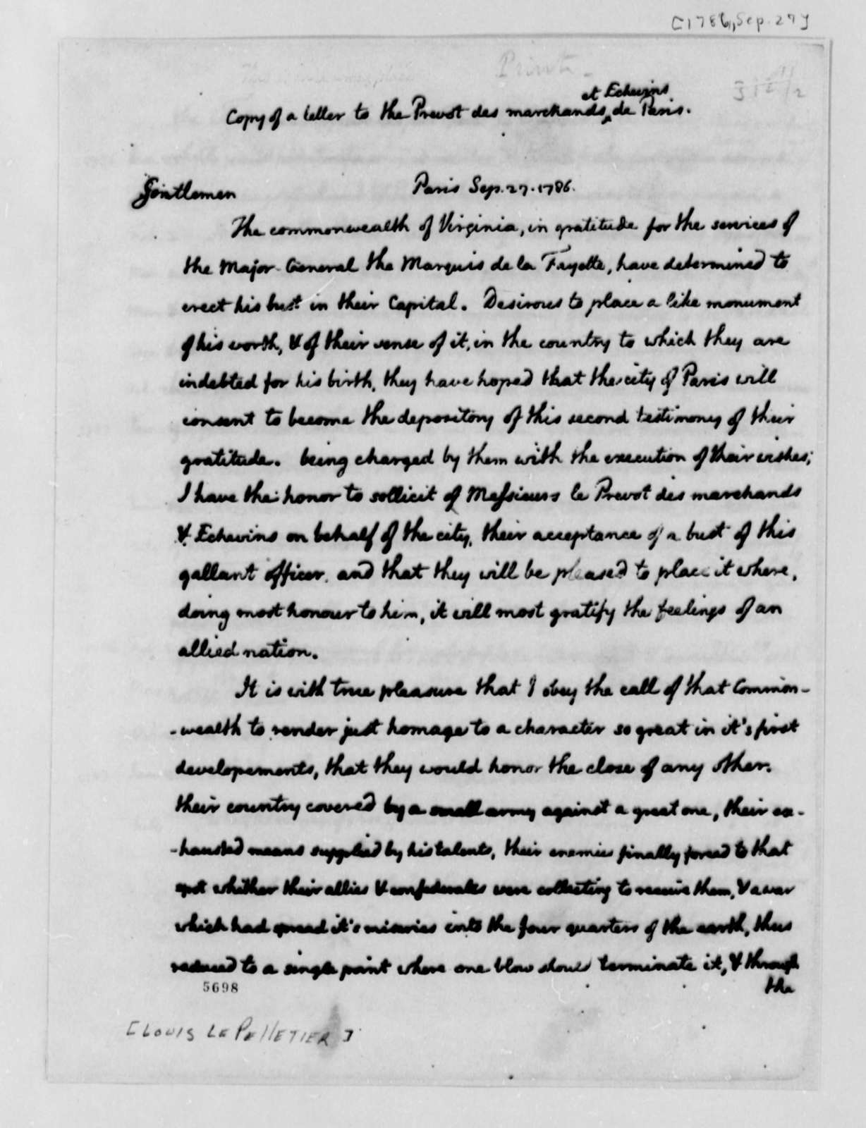 Thomas Jefferson to Louis le Pelletier, September 27, 1787