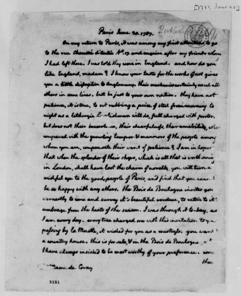 Thomas Jefferson to Madame de Corny, June 30, 1787